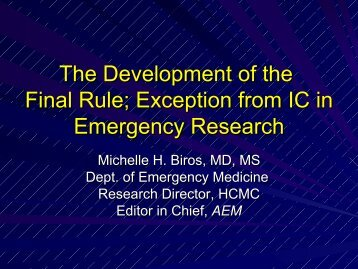 Development of the Final Rule for Exception from Informed Consent ...
