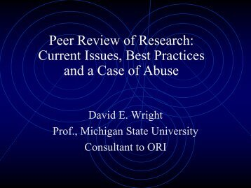 Peer Review: Current Issues and Best Practices