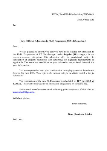 Sample Offer Letter Of Selected Candidates For Admission To PhD