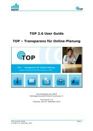 TOP 2.6 User Guide TOP – Transparenz für Online-Planung - Agof