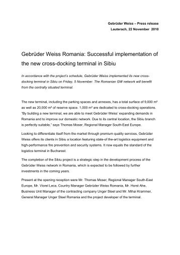 Gebrüder Weiss Romania: Successful implementation of the new ...