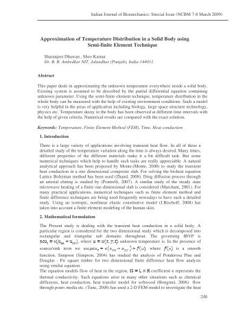 Approximation of Temperature Distribution in a Solid Body using ...