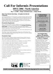 Call For Informix Presentations IDUG 2006 - North America