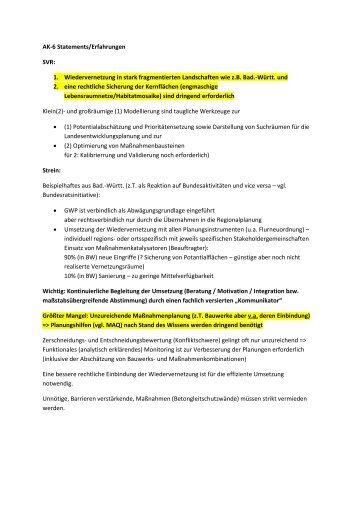 AK-6 Statements/Erfahrungen SVR: 1. Wiedervernetzung in ... - FGSV