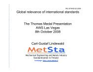 Global relevance of international standards The Thomas Medal ... - IIW