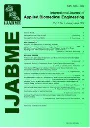 International Journal of Applied Biomedical Engineering - ijabme.org