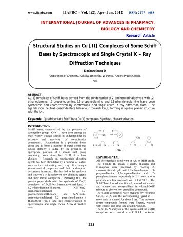 Structural Studies on Cu [II] Complexes of Some Schiff ... - ijapbc