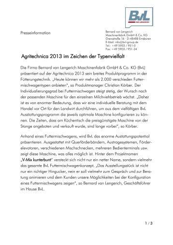 Agritechnica 2013 im Zeichen der Typenvielfalt - BvL Group