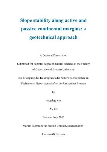 Slope stability along active and passive continental margins ... - E-LIB