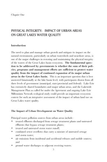 physical integrity: impact of urban areas on great lakes water quality