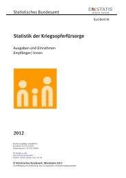 Statistik der Kriegsopferfürsorge - Kurzbericht 2012