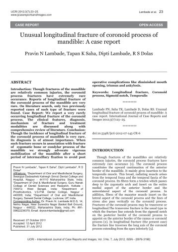 Unusual longitudinal fracture of coronoid process of mandible: A ...