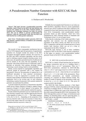 A Pseudorandom Number Generator with KECCAK Hash ... - ijcee