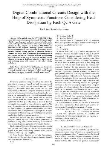 Digital Combinational Circuits Design with the Help of ... - ijcee