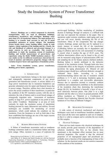 Study the Insulation System of Power Transformer Bushing - ijcee