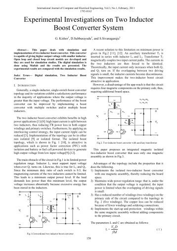 Experimental Investigations on Two Inductor Boost Converter ... - ijcee