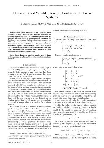 Observer Based Variable Structure Controller Nonlinear ... - ijcee