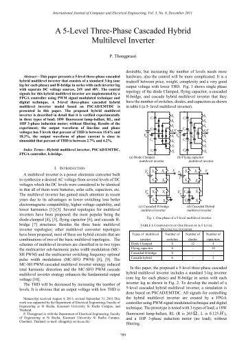 A 5-Level Three-Phase Cascaded Hybrid Multilevel Inverter - ijcee