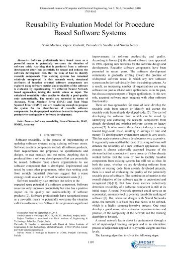 Reusability Evaluation Model for Procedure Based Software ... - ijcee