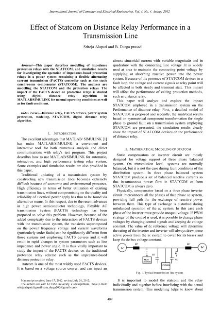 Effect of Statcom on Distance Relay Performance in a ... - ijcee