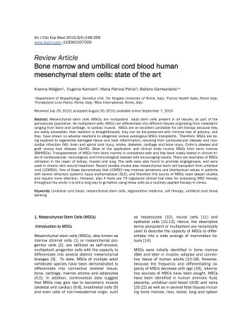 Review Article Bone marrow and umbilical cord blood human ...