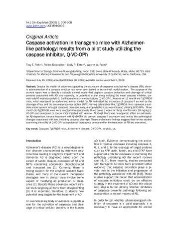 Caspase activation in transgenic mice with Alzheimer-like pathology ...