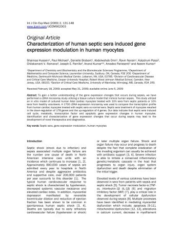 Characterization of human septic sera induced gene expression ...