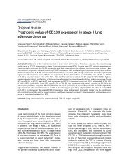 Prognostic value of CD133 expression in stage I lung ...