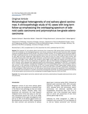 Original Article Morphological heterogeneity of oral salivary gland ...