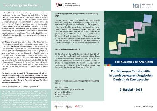 Berufsbezogenes Deutsch ... Fortbildungen für Lehrkräfte in ...