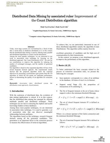 Distributed Data Mining by associated rules: Improvement of ... - IJCSI