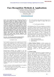 Face Recognition Methods & Applications - International Journal of ...