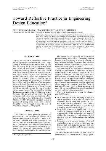 Toward Reflective Practice in Engineering Design Education*