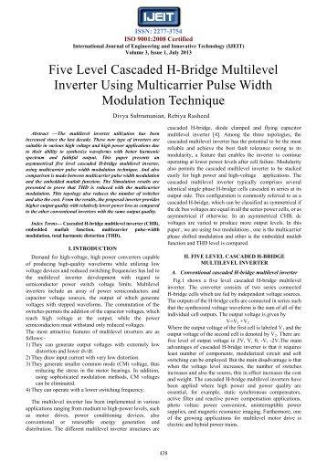 Five Level Cascaded H-Bridge Multilevel Inverter Using ... - Ijeit.com