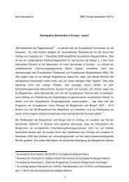 Partizipative Demokratie in Europa – wozu? - BBE