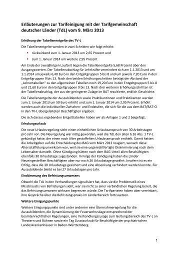 Erläuterungen zur Tarifeinigung mit der Tarifgemeinschaft deutscher ...