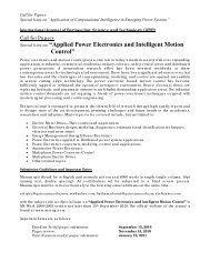 Applied Power Electronics and Intelligent Motion Control