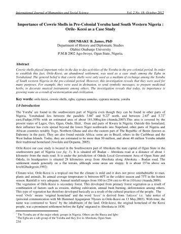 Importance of Cowrie Shells in Pre-Colonial Yoruba - International ...