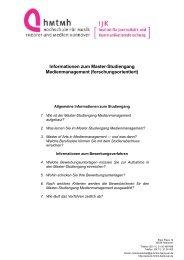 Bewerbung Master MM - Institut für Journalistik und ...