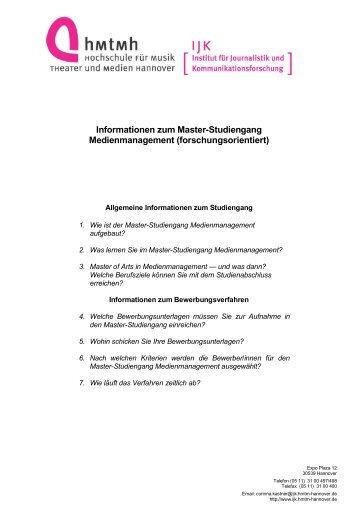 bewerbung master mm institut fr journalistik und - Master Bewerbung
