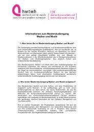 Informationen zum Master-Studiengang Medien und Musik