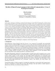 The Role of Shared Foreign Language in Intercultural Communication