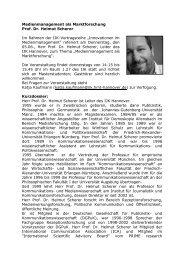 Medienmanagement als Marktforschung Prof. Dr. Helmut Scherer Im ...