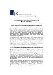 Informationen zum Masterstudiengang Medien und Musik