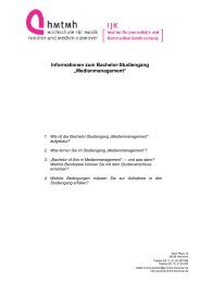 "Informationen zum Bachelor-Studiengang ""Medienmanagement"""