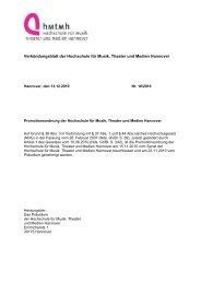 Promotionsordnung 2010 - Hochschule für Musik, Theater und ...