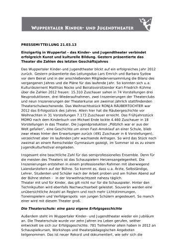 Presseinfo zum abgelaufenen Jahr 2012 - Wuppertal, Kinder