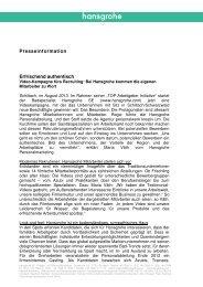 finden Sie die komplette Presseinformation (PDF, 0,1 MB) - Hansgrohe