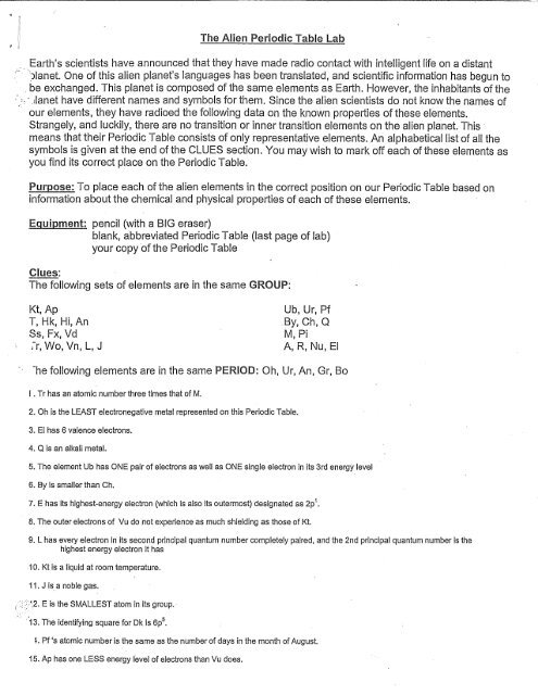 alien periodic table activitypdf
