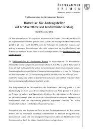 Hinweise für Antragsteller - Ärztekammer Bremen